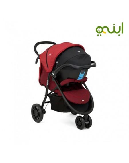 عربة أطفال لايت تراكس 3 عجلات ماركة جوي - كرانبيريمن الولاده الي عمر سنتين