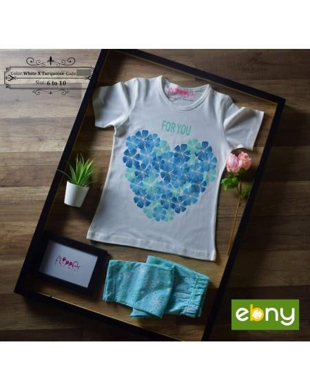 بيجامة أنيقة ومميزة لابنتك لصيف أجمل رسمة قلب زهور