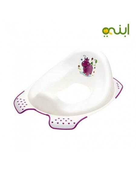 مقعد حمام بطبعة فرس النهر من كيبر، أبيض