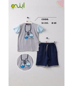 Comfortable cotton home clothes for boys - grey