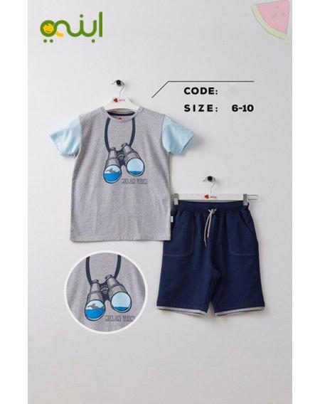 ملابس منزل مريحة قطنية للأولاد - رصاصي