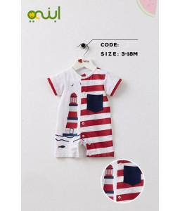 Jump suit  for newborns with distinctive color and elegant drawings - red