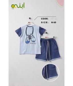 Comfortable cotton home clothes for boys - blue
