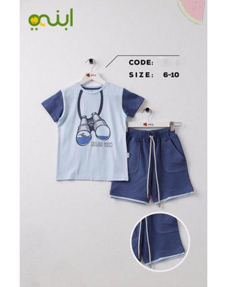 ملابس منزل مريحة قطنية للأولاد - أزرق