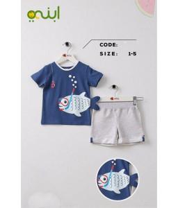 بيجامات منزلية لأولادك برسومات مرحة - ازرق